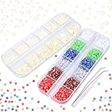 3000+ PCS Perlas para Artesanía, Perla de phogary Rosario Cabujón Espalda plana 6 Tamaños (1.5-5 mm) 7 Colores con pinza de pinza para manualidades