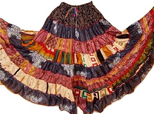 K Verkäufer) Silk Blend Banjara 7bis 9yard Maxi Bohemian Rock Bauchtanz Röcke Einheitsgröße S/M L, damen, 1141, S/M L (20 S Fancy Dress Kostüme)