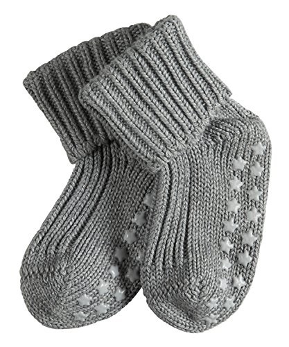 FALKE Babys Catspads Cotton B SO ABS Stoppersocken, Blickdicht, Grau (Light Grey 3400), 80-92