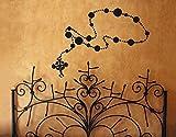 Wandtattoo No.UL833 Rosenkranzkette Religion Christentum Jesus Kruzifix Schmuck, Farbe:Schwarz;Größe:120cm x 252cm