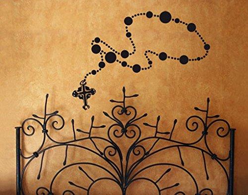 Wandtattoo No.UL833 Rosenkranzkette Religion Christentum Jesus Kruzifix Schmuck, Farbe:Creme;Größe:120cm x 252cm