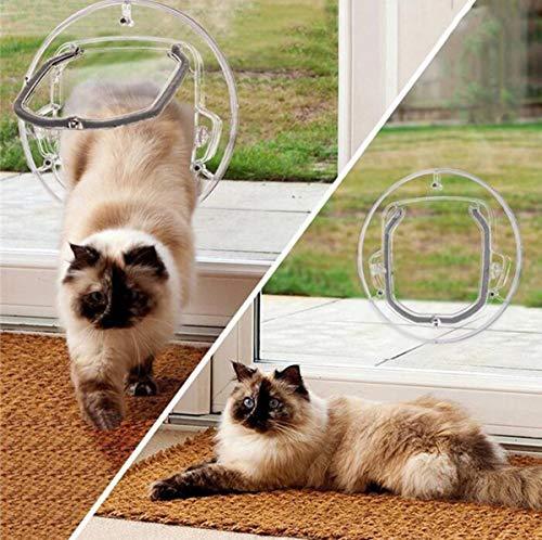 Ttyhch Kleine Haustiertür Hund Katze Klappe Tür 4-Wege-Verriegelung Katze Türen Katze Glastür Glasfenster Pc Material Runde Transparent