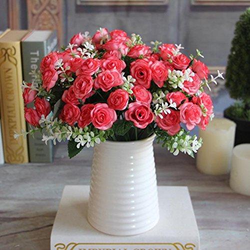 (MingXiao Hot Pretty Dark Pink 15 Knospen Mini Rose Künstliche Seidenblume Dekoration Party)
