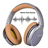 Wireless And Bluetooth Headphones, 3D Surround Sound And Foldable Design And Noise Cancelling,Supports Wired Mode for PC/Cell Phones/TV(Silver Color)