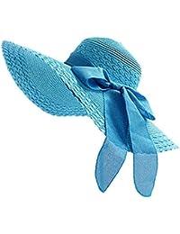 JUNGEN Floppy Chapeau Unisexe Wide Brim Chapeau De Soleil Fashion Voyage Chapeau de Plage idéal pour Vacances Nœud à Deux Boucles Dôme Calir bleu 1 PCS