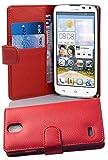 Cadorabo Hülle für Huawei Ascend G610 Hülle in INFERNO Rot Handyhülle mit Kartenfach aus Struktriertem Kunstleder Case Cover Schutzhülle Etui Tasche Book Klapp Style Inferno-Rot