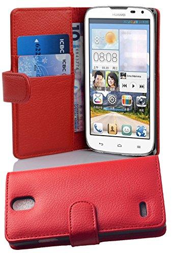 Cadorabo Hülle für Huawei ASCEND G610 - Hülle in INFERNO ROT – Handyhülle mit Kartenfach aus struktriertem Kunstleder - Case Cover Schutzhülle Etui Tasche Book Klapp Style