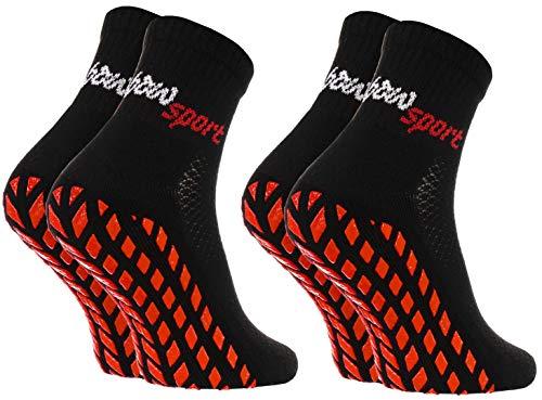 Rainbow Socks - Damen Herren Neon Sneaker Sport Stoppersocken - 2 Paar - Schwarz - Größen: EU 42-43