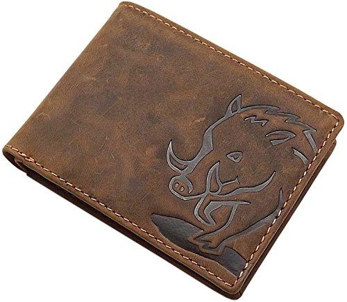 Pelle die bufalo portafoglio con cinghiale motivo in formato orizzontale con blocco rfid & nfc in marrone (modello 2 / formato orizzontale)