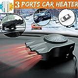 FairOnly 3-Port 2-in-1 12 V tragbarer Auto-Heizlüfter, Kühlventilator, Entfroster schwarz Schwarz
