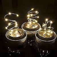 3 paquetes de la tapa del tarro de albañil - Fairy Mason luz solar cadena de luz - Festival de jardín Patio patio trasero Decoración de la fiesta de bodas LED luces solares - Dragon Flame