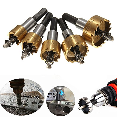 MOHOO 5PCS 16-30 mm HSS Tip Drill Hole Saw Set Stainless Steel Metal Alloy Applicable to Steel, Aluminum, Stainless Steel, Galvanized Pipe And Other Materials on The Hole Operation Test