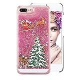 Glitter Plastique Coque pour iPhone 6S,Cristal Liquide Étui pour iPhone 6,Moiky Luxe Noël Arbre Cadeau Noël Séries Imprimé 3D Rose...