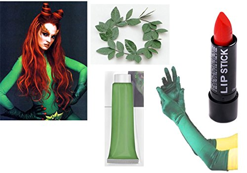 Poison Ivy Kostüm Kit Halloween Fancy Dress Set Green Kranz Paint Handschuh (Kostüm Ivy Poison)