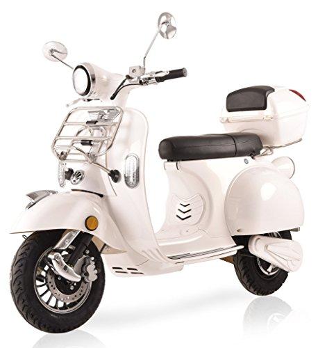 Elektroroller Classico Li, 3000 Watt, E-Scooter, Elektro-Roller, E-Roller mit Straßenzulassung, 45 km/h, herausnehmbarer Lithium-Akku, Produktvideo, Weiß