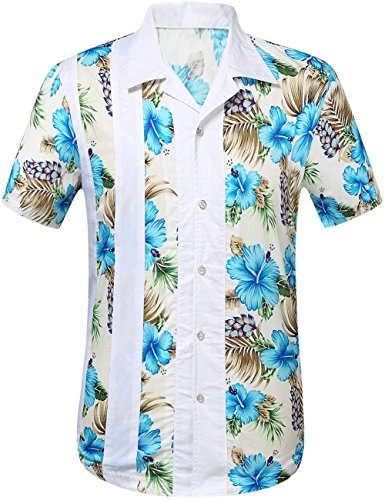 SSLR Herren Blumen Baumwolle Freizeit Regular Fit Button Down Kurzarm Hemd Blau (168-145)