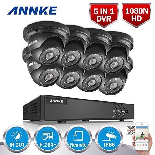 1280960P-HD-ANNKE-Kit-de-8-Cmaras-de-Vigilancia-Onvif-H264-CCTV-DVR-P2P-8CH-TVI-y-8-Camaras-960P-13MP-IP66-Impermeable-36MM-IR-Cut-Visin-Nocturna-Hasta-20-30M-Exterior-y-Interior-HDMI-42-LEDs-Segurida