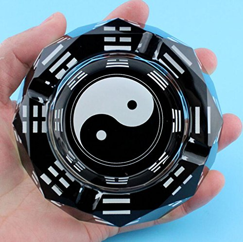Cenicero Ying Yang ,Stillshine Exclusivo Doble Octagonal Cristal Vaso Cigarrillo Cigarro Cenicero Ceniza Bandeja 10 cm de Diámetro- En Caja de Regalo