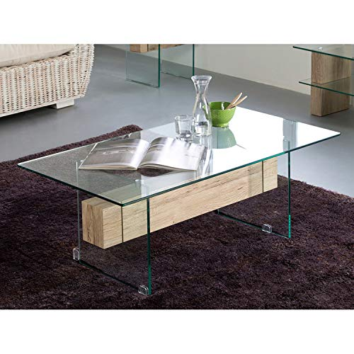 Delamaison Table Basse Verre trempé et Bois décor San Remo L110cm Rosario