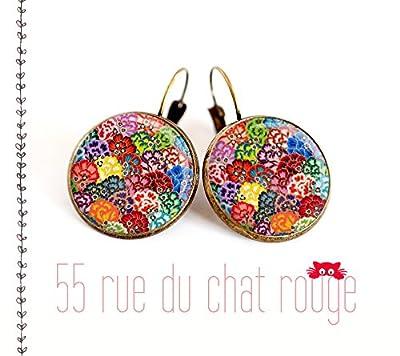 Boucles d'oreilles cabochon, motif japonais vague multicouleur,seigahia, japon