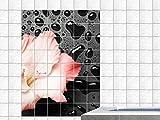 Fliesenaufkleber Fliesenbild Schiefer schwarze nasse Platte mit Blüte (Fliesenmaß:Wunschgröße//Bildformat:50x75cm(BxH))