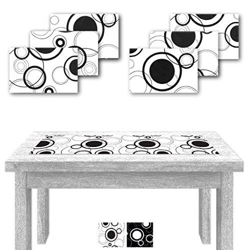 Arsvita Tischläufer 140x40cm + 6 Tischsets 30x45cm Druck Weiß mit schwarzen Kreisen, Tischdecke, in vers. Motiven erhältlich