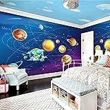 LONGYUCHEN Benutzerdefinierte Seide Wandbild Tapete 3D Cartoon Planeten Sonnensystem Fototapete Kinderzimmer Schlafzimmer Wandmalerei Wohnzimmer,150Cm(H)×240Cm(W)