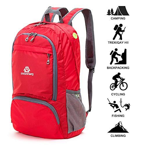Packable Reiserucksack Wanderrucksack Tagesrucksack, 30L Faltbare Camping Rucksack, Leichte Outdoor Sport Rucksack (06.Rot) ()