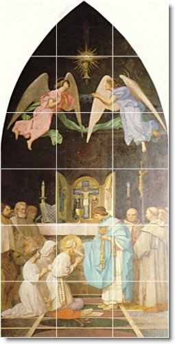 JEAN GEROME RELIGIOSO AZULEJOS MURAL 5  24X 48PULGADAS DE PARED CON (18) 8X 8AZULEJOS DE CERAMICA