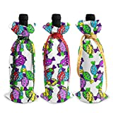3Pcs Decoration Wine Bottle Covers Bags,Champagne Bags,Vector. Vector Of Sweets And Candies....