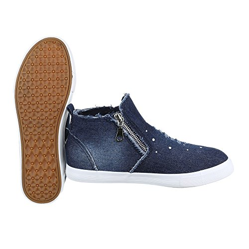Sneaker High-top Scarpe Da Donna Sneakers Alte Ital-design Scarpe Casual Blu  Scuro ...