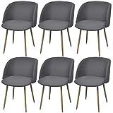 Lingjiushopping Stühle Esszimmer 6Stück dunkelgrau Farbe: Grau dunkel Material: Exklusive Rahmen aus Stahl mit Finish in Holz