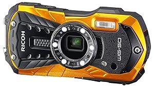 Ricoh Digital Kamera WG-50 Wasserdicht Stoßfest Kälteresistent orange Außergewöhnliches Design in trendigen Farben Zuverlässige Gehäusekonstruktion Wasserdicht bis zu 14m Tauchtiefe Stoßfest bis zu einer Fallhöhe von 1,6m  Druckfest bis zu 100kg