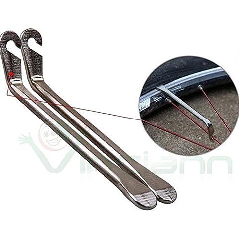 2 Strumenti riparazione bici alluminio bicicletta ruota copertone leva attrezzo