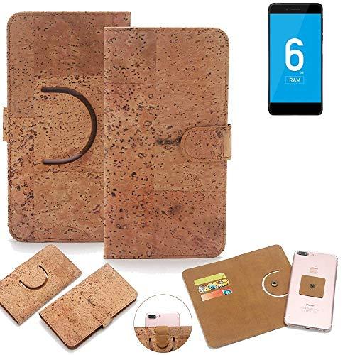 K-S-Trade Schutz Hülle für Vernee Mars Pro 4G Handyhülle Kork Handy Tasche Korkhülle Schutzhülle Handytasche Wallet Case Walletcase Flip Cover Smartphone Handyhülle