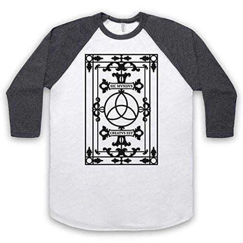 The Guns Of Brixton Dark Sic Mvndvs Creatvs EST Sic Mundus Creatus EST 3/4 Manches Retro T-Shirt De Base-Ball, Blanc & Gris Fonce, Large