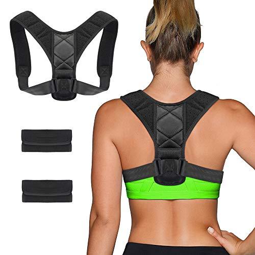 Chengtao Sports Haltungskorrektur Geradehalter Rücken Schulter Gürtel,Schwarz Verstellbar Atmungsaktiv Rückenhalter Schultergurt Rückenstütze Haltungstrainer für Damen Herren