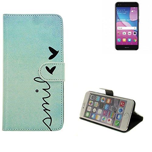 K-S-Trade Für Huawei Y6 Pro 2017 Dual SIM Hülle Wallet Case Schutzhülle Flip Cover Tasche bookstyle Etui Handyhülle ''Smile'' türkis Standfunktion Kameraschutz (1Stk)