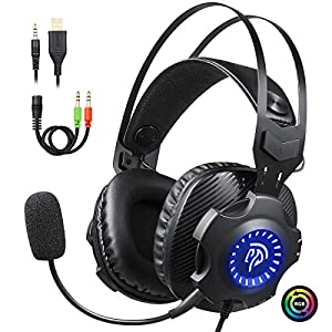 Gaming Kopfhörer, EasySMX USB+3.5mm Noise Cancelling Headset mit Mikrofon für PC/ipad/Laptop/Switch/PS4/PS4 Slim/PS4 Pro/Xbox One S/X