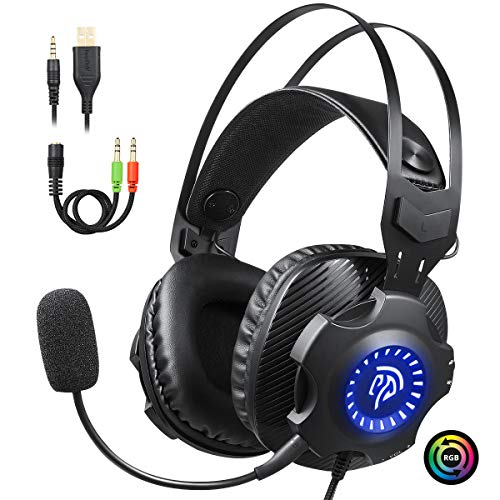 EasySMX PC Cascos Gaming, PS4 USB Auriculares con mic y LED RGB de Ciclo Automático, Auriculares Gaming PC/PS4 con Orejeras Suaves Respirables y Silenciamiento para Laptop, Mac, PS3, Nintendo Switch
