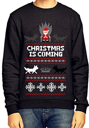 GAME OF THRONES CHRISTMAS IS COMING JUMPER / SWEATSHIRT (Medium, Black)