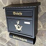 Großer Briefkasten / Postkasten XXL Schwarz matt mit Zeitungsrolle Flachdach Katalogeinwurf Zeitungsfach