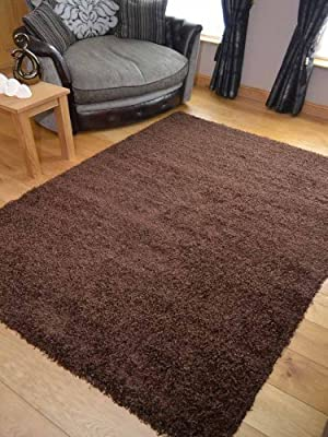 Super Shaggy Chocolate Thick Luxurious Soft 5cm Dense Pile Rug. Available in 6 Sizes (120cm x 170cm) - inexpensive UK light store.