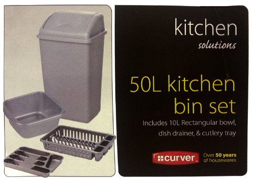 Silver 4 Piece Plastic Kitchen Set Includes - 50 Litre Bin 10 Litre Bowl Dish Drainer & Cutlery Tray
