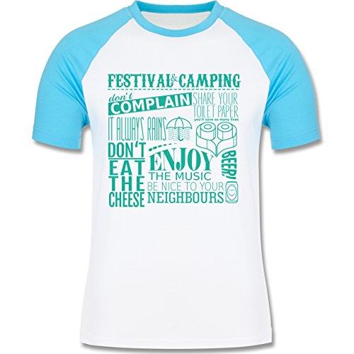 Festival - Festival camping lettering - zweifarbiges Baseballshirt für Männer Weiß/Türkis