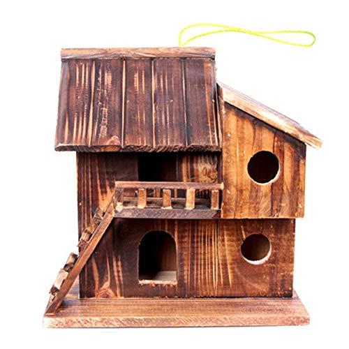 Sikungjlk Cage à Oiseaux en Plein air en Bois Birdhouse Rétro Artisanat en Plein Air Deux Couches Cottages Bird House for Petite Cabane À Oiseaux Birdhouse Décoration extérieure Bird House