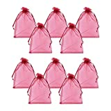 PandaHall - Lot de 100pcs Sachets Pochettes Cadeau en Organza, Rectangle, Rouge Fonce, 13x18cm