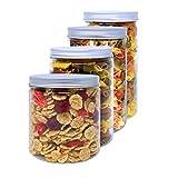 D' Luxy Pack 4 Botes de Polietileno Alimentario, 0,95 L (12x10cm) - 1,1 L (15x10CM) - 1,3 L (18x10cm) y 1,5 L (20x10cm), Tarros con Tapa de Aluminio Enroscable. Reciclable, 100% Libre de BPA.