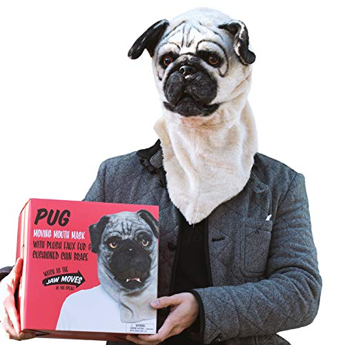 Preis am Stiel Hundemaske Mr. Mops | Maske | Karnevall | Outfit | Unisex | Kopfbedeckung | Kostüm | Verkleidung | Fasching | Motto Party | Geischtsmaske | Hund | Halloween | Geschenkidee