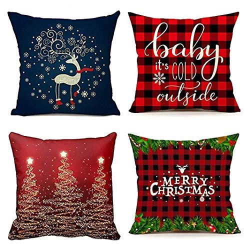Emvency Set von 4 Kissenbezügen Weihnachten rot kariert blau Hirsch 31 Hot Baby It S dekorative Kissenbezüge Home Decor quadratische Kissenbezüge, Polyester-Mischgewebe, Multi, 16 x 16 inches -